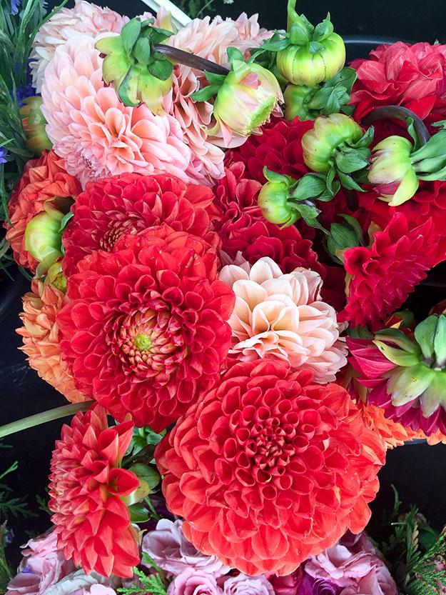 פרחים מקבלים את פני בכניסה לשוק המקורה המקסים Le Marche des enfants rouges