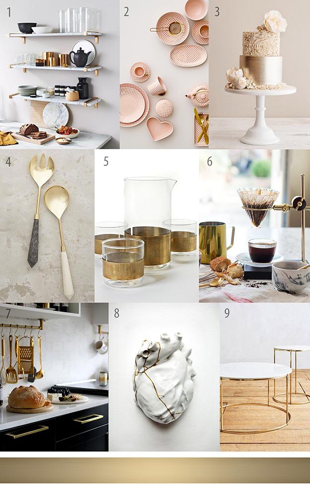 לוח השראה של פריטים ואבזרים למטבח ולעיצוב הבית בזהב