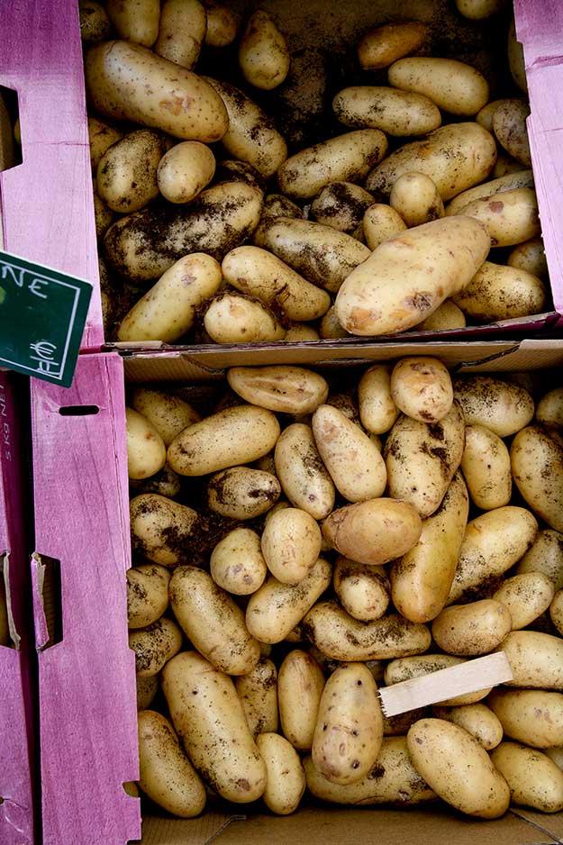 פירות וירקות ותוצרת חקלאית מקומית בשוק פורקלקייה בכיכר המרכזית בעיירה