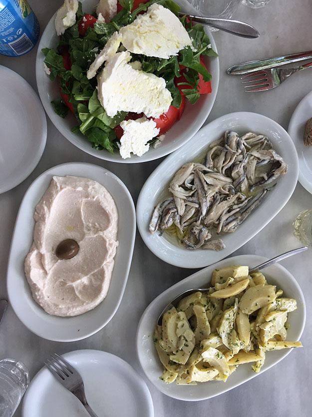ראשית נפרשים על השולחן מזטים איקרה מעולה, סלט יווני, אנשובי מוחמצים, סלט ארטישוק