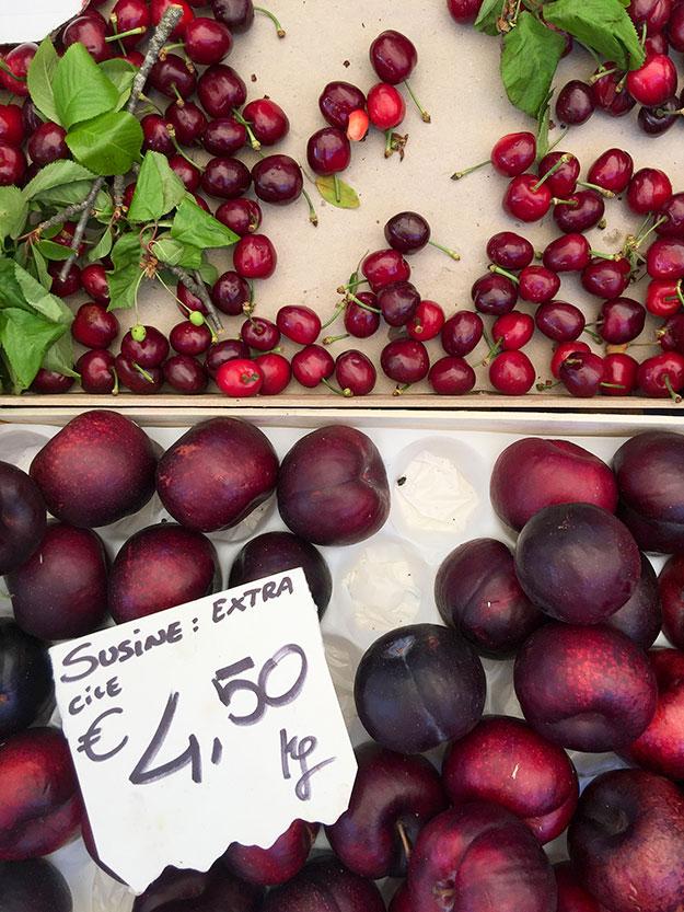 שפע פירות בדוכני שוק האיכרים