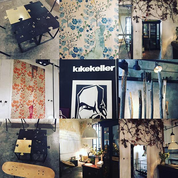 עיצוב של המקום מעורר השראה,מוצגים בחלל המקום למכירה חפצי עיצוב מקומי, טפטים וינטג', רהיטים בסגנון שיק תעשייתי ואמנות עכשוית