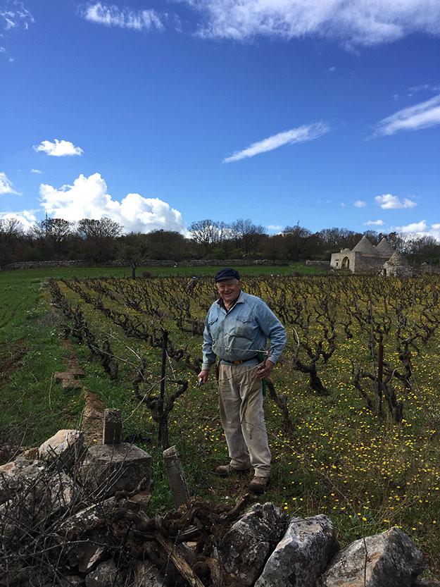 חקלאי מקומי מעבד את הענבים בחווה בדרך לאלברובלו