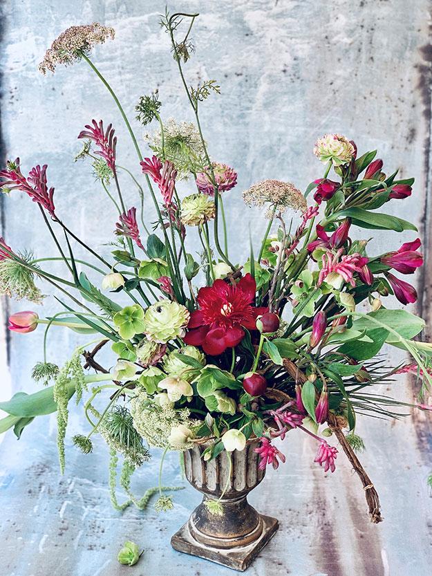 סידור הפרחים שלי שעיצבתי בסדנה